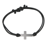 H.J. Sherman, Double Strand Cross Bracelet, Leather and Stainless Steel, Black and Silver
