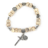 Roman, Inc., Saint Benedict Beaded Prayer Bracelet, Wood Beads and Silver Medals
