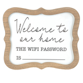 Welcome To Our Home Wifi Password Tabletop Plaque, MDF, 7 1/2 x 9 inches