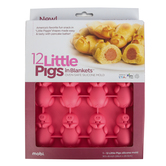 Mobi, Pigs in a Blanket Baking Mold, Silicone, Pink, 9 1/2 x 8 inches
