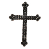 Bella Grace, Trefoil Cross Brooch, Black, Zinc Alloy, 1 1/2 x 2 inches