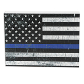Police Flag Wood Decor, White, Blue, Black, 7 1/4 x 5 3/8 x 1 1/8 inches
