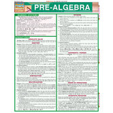 BarCharts, Pre-Algebra Laminated Study Guide, 8.5 x 11 Inches, 6 Pages, Grades 7 and up
