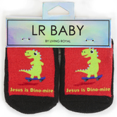 Living Royal, LR Baby, Jesus is Dino-mite, Baby Socks, Black, 1 Pair, Ages 0-6 Months, One Size Fits Most