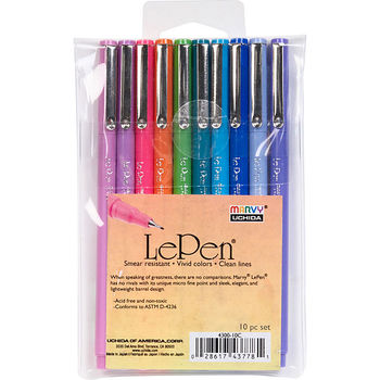 LePen, Markers, Bright Assorted Colors, Fine Tip, 10 Pack