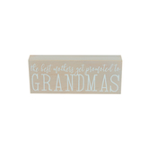 Promoted to Grandma Box Sign, MDF Wood, Gray, 10 x 4 x 1 1/2 inches