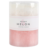 Peony & Melon Pillar Candle, Pink and White, Multiple Sizes Available