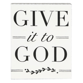 Roman, Inc., Alexa's Angels Give it to God Plaque, MDF Wood, White, 4 3/4 x 6 x 1 1/2 inches