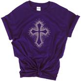 Red Letter 9, Rhinestone Cross Burst, Women's Short Sleeve T-Shirt, Purple, S-2XL
