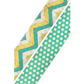 Retro Chic Collection, Double-Sided Border Trim, 38 Feet, Multi-Colored Dotted Chevron and Turquoise with Dots