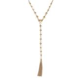 His Truly, Beaded Necklace with Tassel, Zinc Alloy, Gold, 18 Inch Chain