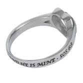 Spirit & Truth, Song of Solomon 6:3, Patchwork Cross Heart, Women's Ring, Stainless Steel, Sizes 5-9
