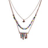 By His Grace, Faith Hope Love Beaded 3 Piece Necklace Set, Iron and Zinc Alloy, Rose Gold, 16/18/20 Inch Chains