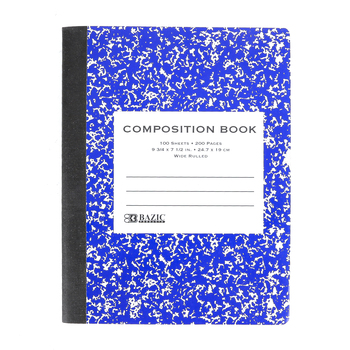 Bazic Products, Composition Book, Wide Ruled, 9 3/4 x 7 1/2 Inches, Multiple Colors, 100 Sheets