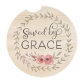 CounterArt, Saved By Grace Car Coaster, Stoneware, 2 5/8 Inches