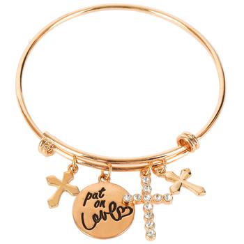 Modern Grace, Put On Love Wire Wrap Charm Bracelet, Zinc Alloy and Iron, Gold