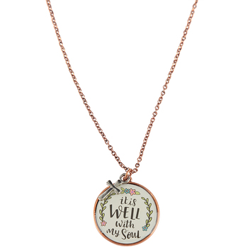 Bella Grace, It Is Well with My Soul Pendant Necklace, Copper, 18-inch Chain