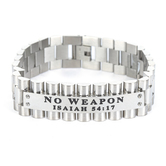Spirit & Truth, Isaiah 54:17, No Weapon, Men's Link Band Bracelet, Stainless Steel, Silver, 3/4 x 9 Inches