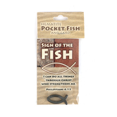 Swanson, Sign of the Fish Pocket Card With Hematite Fish, 3 1/2 x 2 1/4 inches