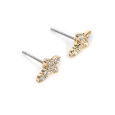 Howard's, Ear Sense, Cross Post Earrings, Gold and Crystal Stones, 3/8 Inches