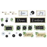 Schoolgirl Style, Simply Boho Inspirational Signs Mini Bulletin Board Set, Multi-Colored, 26 Pieces