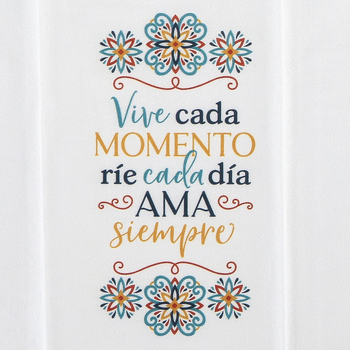 P. Graham Dunn, Live Laugh Love Spanish Tea Towel, Cotton, White, 16 x 28 inches