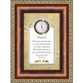 Christian Brands, Framed Plaque with Clock for Pastor, 6 x 8 inches