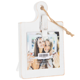 Green Tree Gallery, Mini Paddle Board with Clip Photo Frame, MDF, Whitewash, 3 x 3 inches