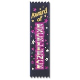 The Diploma Mill, Award of Excellence Ribbon Value Pack, 2 x 6 Inches, Dark Blue, Pack of 10