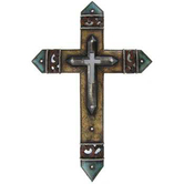 Leather Look Layered Wall Cross, Resin, 19 x 13 inches