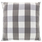 Gray and White Buffalo Check Square Pillow, Polyester and Cotton, 20 x 20 x 6 inches