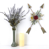 Crossed Arrows with Flowers Wall Art, Metal, 12 1/2 x 18 3/4 inches