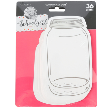 Schoolgirl Style, Industrial Chic Mason Jars Cutouts, 3.4 x 5.5 Inches, 36 Pieces
