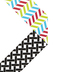 Isabella Collection, Wide Double-Sided Border Trim, 38 Feet, Primary Chevron Black and White Lattice