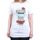 Psalm 46:10 Be Still and Know (Spanish), Women's Short Sleeve T-shirt, White, S-2XL