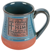 Abbey and CA Gift, I Can Do All Things Coffee Mug, Ceramic, Blue, 20 Ounces