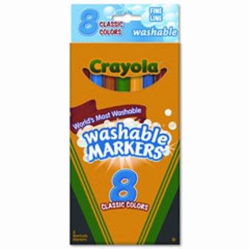 Crayola, Washable Markers, Fine Point, Assorted, Pack of 8