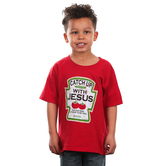 Kerusso, Psalm 37:4, Catch Up With Jesus, Kid's Short Sleeve T-Shirt, Red, 3T-YL