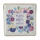 Christian Art Gifts, Jeremiah 29:11 Hope And A Future Trinket Tray, Porcelain, 4 1/2 x 4 1/2 inches