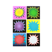 Superheroes Collection, Large Starburst Cutouts, 6 Inches, 6 Assorted Multi-colored Designs, 36 Pieces