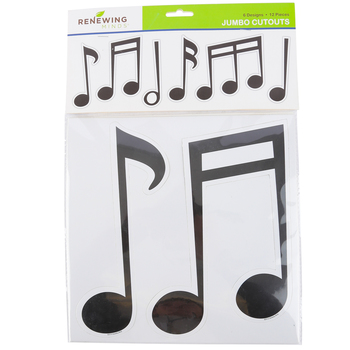 Renewing Minds, Jumbo Shaped Cutouts, Music Notes, 10 Inch, 6 Designs, Set of 12
