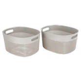 Dial, Textured Craft Baskets, Gray, 8.75 x 10.5 x 6 Inches, Set of 2