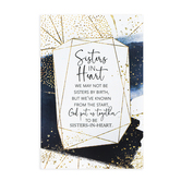 Dexsa, Sisters In Heart Wood Plaque, White and Navy Blue, 9 x 6 x 1/2 inches