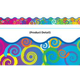 Trend, Scalloped Border Trim, 39 Feet, Rainbow Swirls