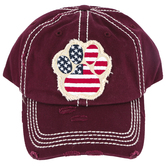 K&B Trading, Patriotic Paw Print, Vintage Adjustable Cap, Burgundy