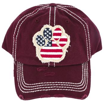 K&B Trading, Patriotic Paw Print, Vintage Adjustable Cap, Burgundy