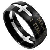 Spirit & Truth, 1 Timothy 6:11, Man of God Ring, Black, Stainless Steel, Sizes 8-12
