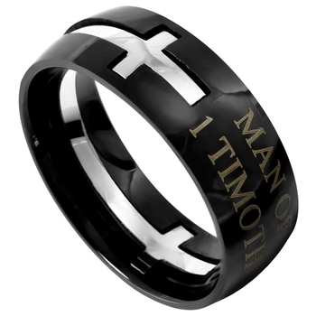 Spirit & Truth, 1 Timothy 6:11, Man of God Ring, Black, Stainless Steel