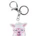Tick Tock, Llama Pom Pom Key Chain, Pink & White, 3 x 6 1/2 inches
