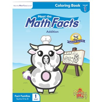 Preschool Prep Company, Meet the Math Facts Coloring Book, Level 1 Addition, 36 Pages, Grades PreK-1